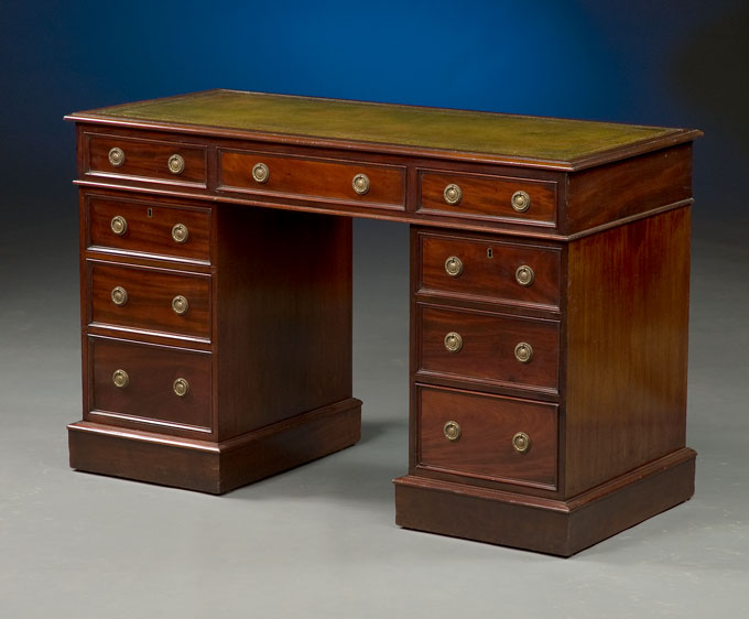 English Antique Pedestal Desk - Antique Pedestal Desk