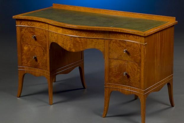 Satinwood Serpentine Desk