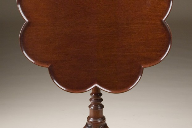 Scalloped Edge Tilt Top Table