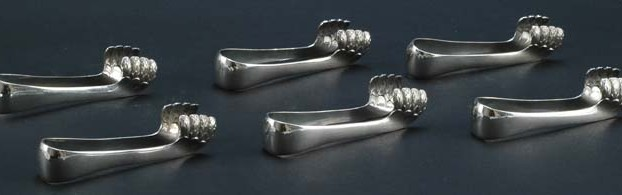 Set of Six Silverplate Asparagus Tongs
