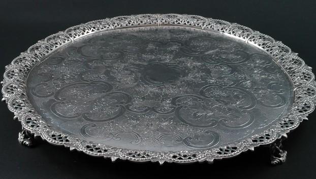 George III Silver Circular Tray