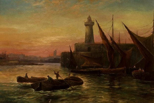 Harbor Scene By F.J. Aldridge