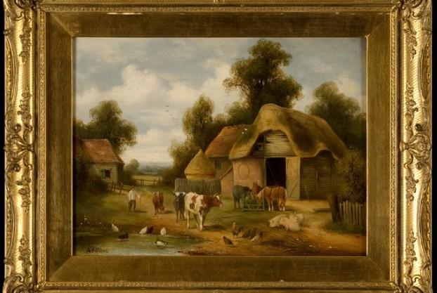 W.B. Wilcox Farmyard Painting