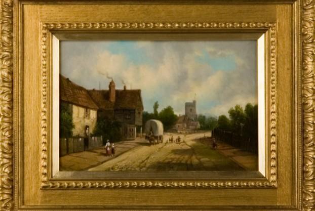 English Oil on Canvas of Village Street Scene