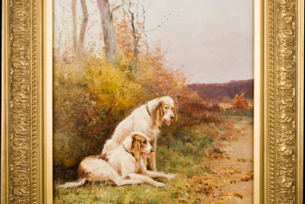 Pair of Dogs in Landscape by Reyne.