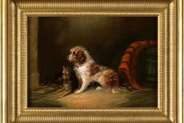 Langlois Oil On Canvas of Dogs