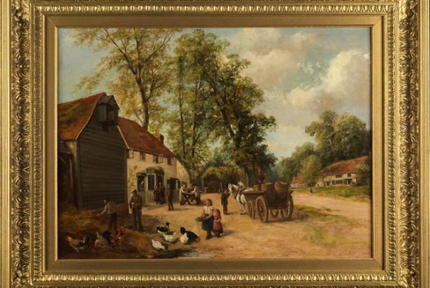 Village Scene on Canvas by Charles Low