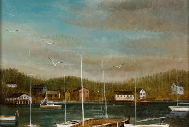 20th Century Harbor Town Scene