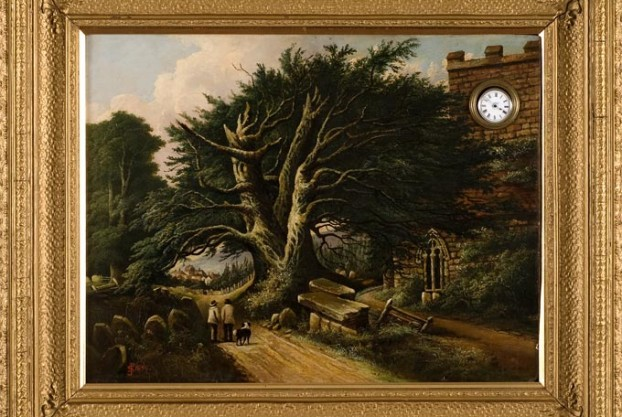 Oil Painting With Embedded Watch