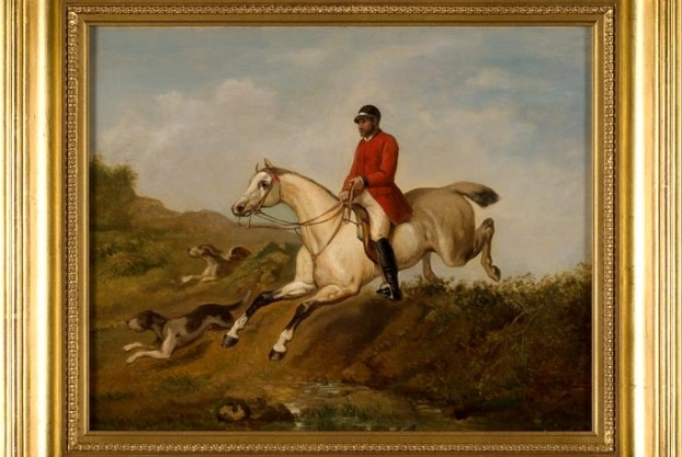 Fox Hunt Scene Oil On Panel