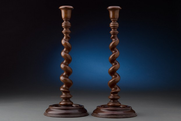 Pair of Antique Mahogany Candlesticks