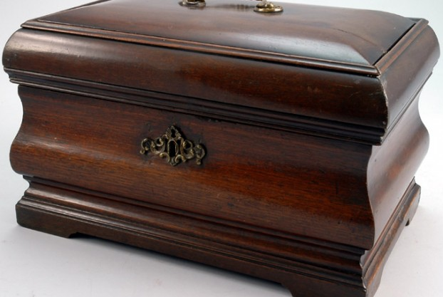 Antique Mahogany Bombe Jewelry Casket