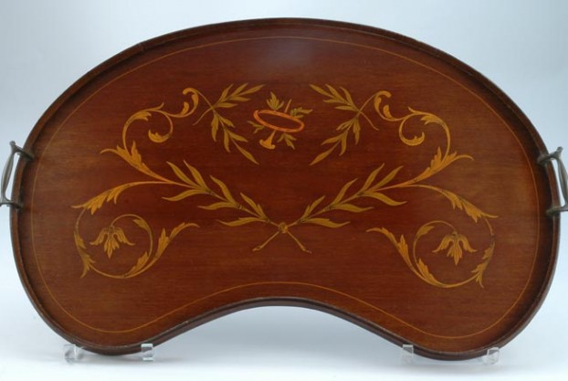 Antique Mahogany Kidney Shaped Tray