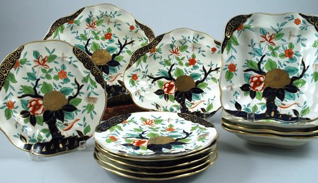 12 Piece English Blue & Gold China Set