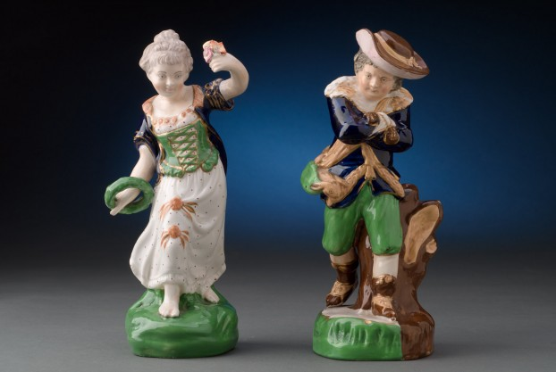 Pair of Antique Staffordshire Pottery Figures