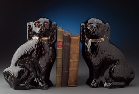 Pair of Staffordshire Black Spaniels