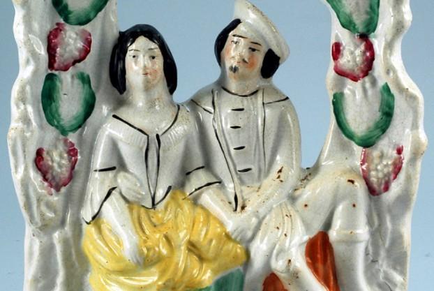Antique Staffordshire Figure – Lovers Under Arbor