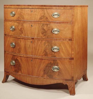 Antique Bow Front Mahogany Chest