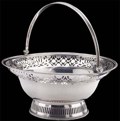 English Georgian Silver Round Cake Basket