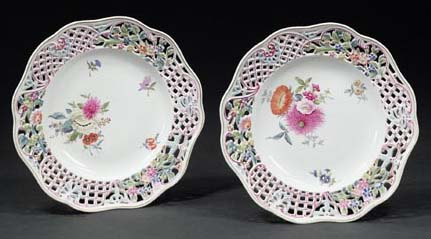 Pair of 9″ Antique Reticulated Dresden Plates
