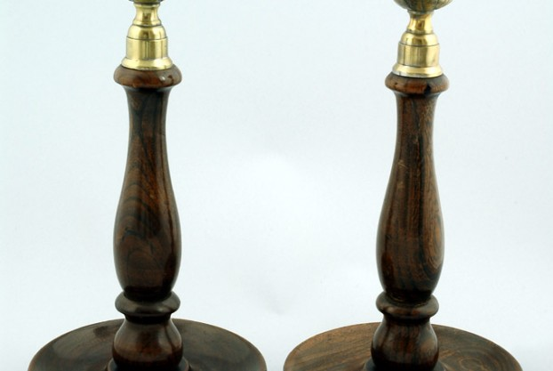 Pair of 10″ Oak Candlesticks