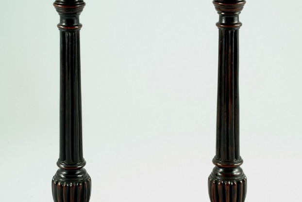 Pair of Reeded Antique Candlesticks