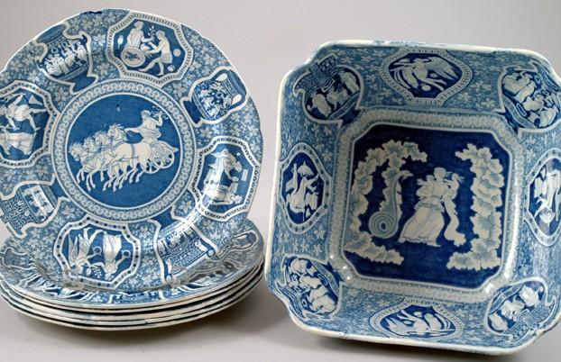 English Antique 7 Piece Blue & White China Set