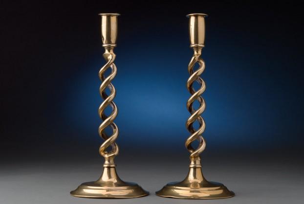 12″ Brass Open Twist Candlesticks