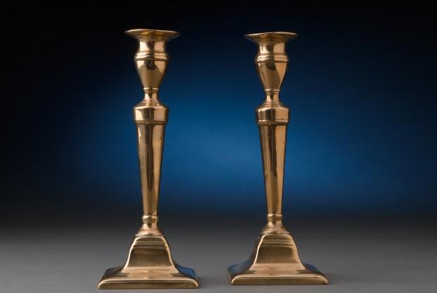 Plinth Based Brass Candlesticks