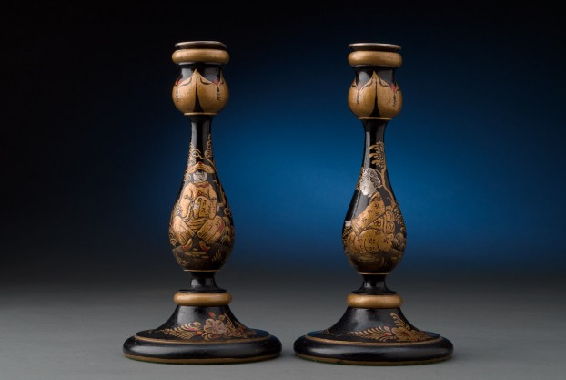 Black Lacquered Candlesticks