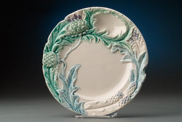 Majolica Artichoke & Asparagus Plate