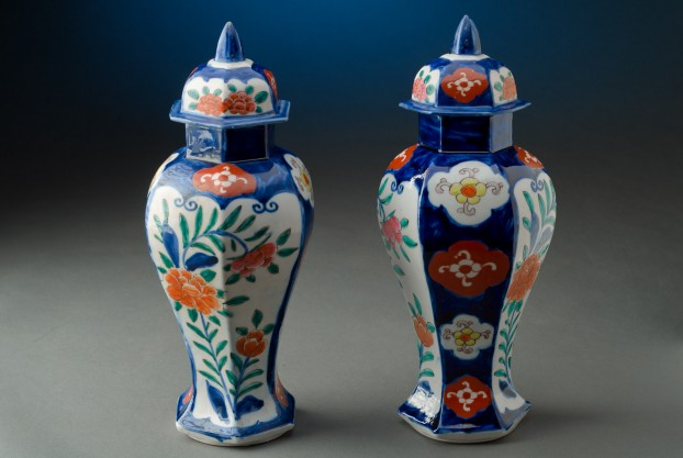 Pair of Hexagonal Vases
