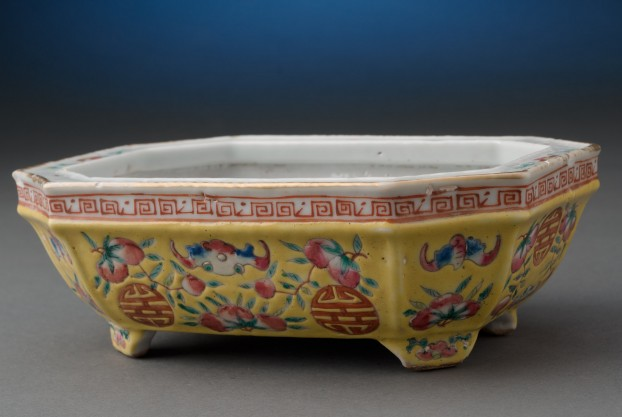 Yellow Chinese Footed Dish