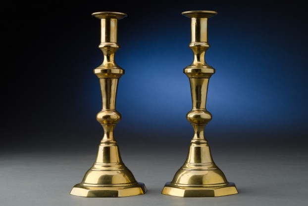9″ English Brass Candlesticks on Octagonal Bases