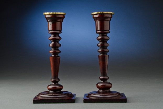 "8½"" English Mahogany Candlesticks"