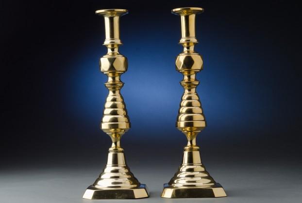 14″ English Brass Candlesticks