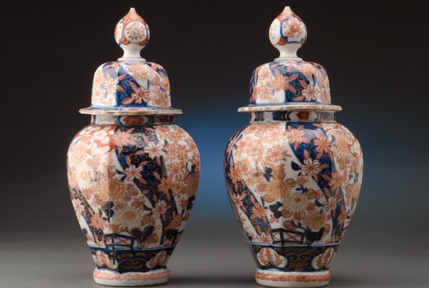 "Pair of 13½"" Imari Vases with Lids"