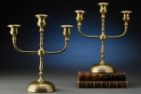 Turned Brass 3-Lite Candelabras