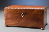 Mahogany Tea Caddy with Bead Border