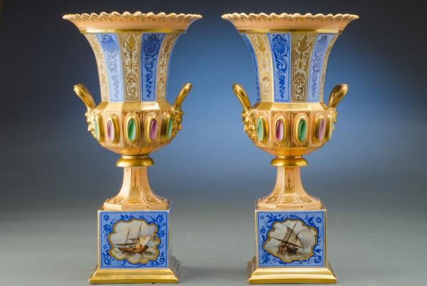 Pair of Paris Porcelain Urns