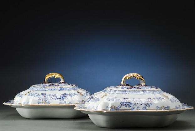 Pair of Blue and White Covered Entree Dishes