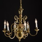 Brass Chandelier with Second Tier Hook Ornaments