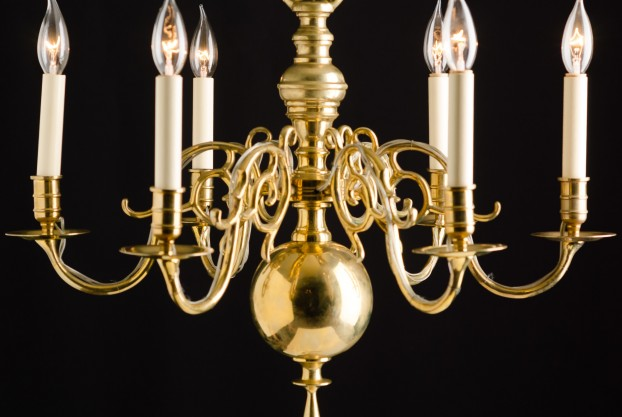 Danish Six Arm Chandelier