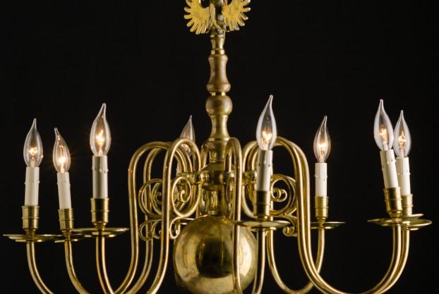 Eight Arm Brass Chandelier