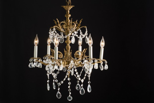French Brass & Crystal Chandelier