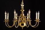 Danish 8 Lite Brass Chandelier