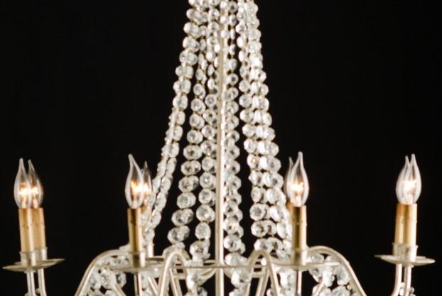 Versailles Silver Leaf Crystal Chandelier