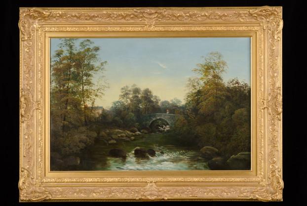Bridge Over River Scene by R. Allen