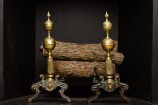 Pair of Bronze and Cast Brass Andirons
