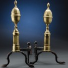 Pair of Brass Andirons with Lemon Tops